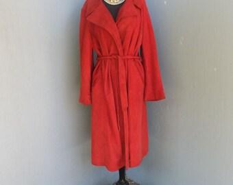 Vintage 70s Hammett's Modesto CA, Boho Midi Suede Wrap Swing Style Coat, Boho, Orange Poppy Color Suede/Leather Wrap Coat