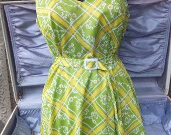 1960s Elizabeth Stewart Two Piece Swimsuit, Green and Yellow Two Pc Bathing Suit, size 12