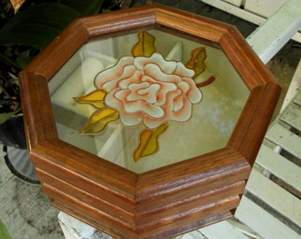 The Commodore Collection by Rosalco Wood Glass Rose Jewelry Box