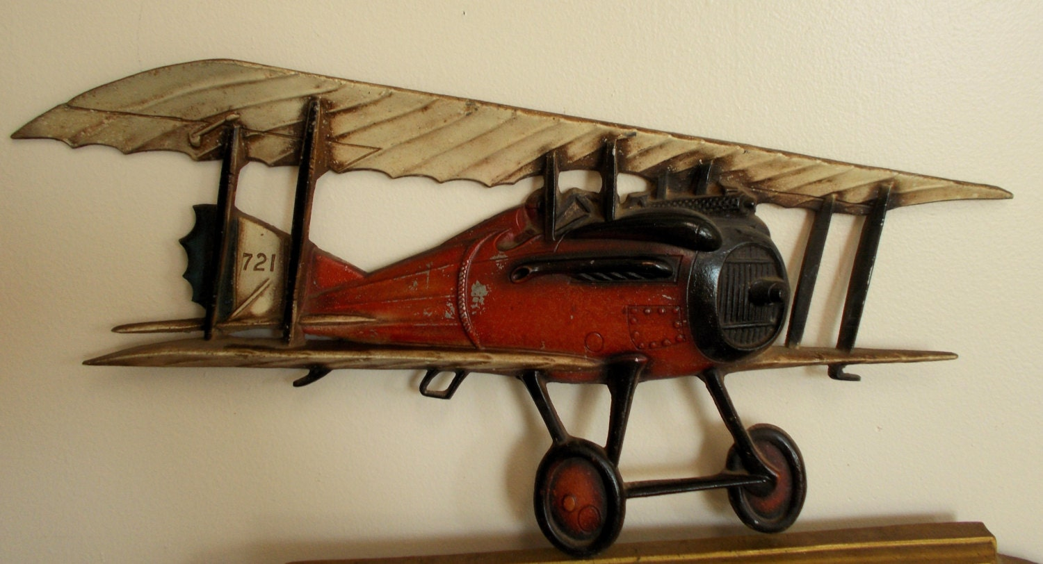 Vintage Cast Aluminum Sexton Airplane Wall Hanging 721 Usa