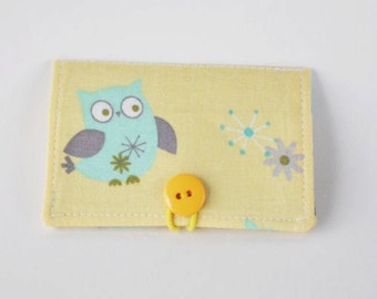 Fabric Business Card Holder Owl Owls