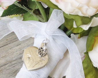 Dad Bridal Bouquet Locket,  Father of the Bride Locket, Bouquet locket, Bouquet Charm, In memory of Dad, Silver Heart Locket, Kepsake