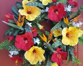 Large Tropical Wreath......Hibiscus Wreath.....Luau....