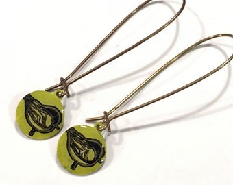 Hand Painted yelliw green bird Earrings on long brass ear wires