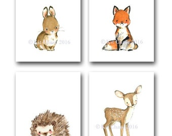 "Woodland Nursery Art -- Woodland Friends ""A"" SET OF 4 -- Bunny Wall Art, Fox Wall Art, Deer Wall Art, Forest Wall Art, Children's Wall Art"