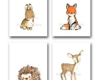 """Woodland Nursery Art -- Woodland Friends """"A"""" SET OF 4 -- Bunny Wall Art, Fox Wall Art, Deer Wall Art, Forest Wall Art, Children's Wall Art"""