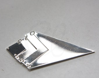 One Set Premium Silver Plated Triangle Pendant - Geometry - 73x40mm (3118C-N-242)
