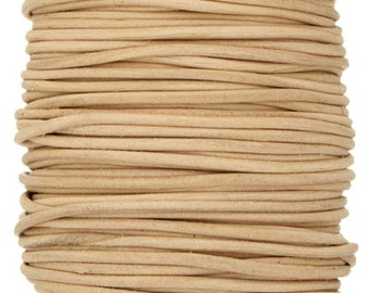 2 Meters (6.56 Feet Approx.) Genuine Leather Cord - Round - Natural 0.5mm (2311901)