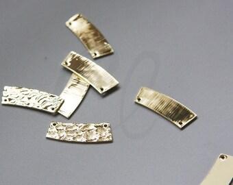 One Piece Premium Gold Plated Brass Base Hammered Irregular Link - 23x8.5mm (3085C-N-70)