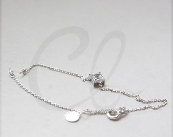 One Piece White Gold Plated on S925 Sterling Silver Bracelet with Square Crystal and Setting (80)