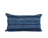 Hmong Tribal Indigo Batik Cotton Accent Lumbar Pillow