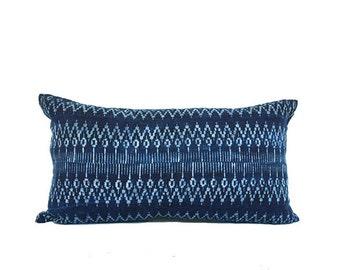 Hmong Tribal Indigo Batik Cotton Accent Lumbar Pillow