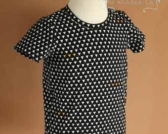 Geometric Ringer Tee - Size 4/5 - Ready to Ship - Art Gallery Fabrics