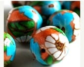 On Sale Handmade Polymer Clay Beads Orange Teal White Flowers