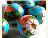 On Sale Handmade Polymer Clay Beads Orange Teal White Flowers