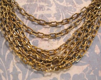 3.5mm Petite Peanut Chain in Antique Gold - 5 feet