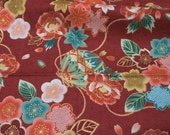 1 meter Kimono print Japanese fabric Flowers 100 cm by 108 cm or 39 by 42 inches