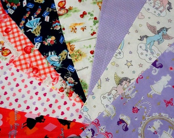 Kawaii and fairy tales fabric scrap Unicorn little red riding hood Alice in Wonderland set of 8 pieces