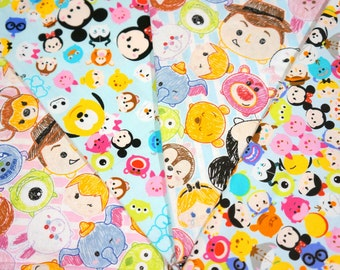 Disney Licensed Disney Tsum Tsum fabric scrap 25 by 25 cm or 9.6 by 9.6 inches each piece Printed in Japan ©Disney
