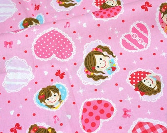 Kawaii girls and heart  print Japanese fabric Half Meter  (n431)