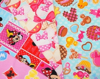 Disney fabric scrap  Minnie Mouse  print 25 cm by 25 cm or 9.6 by 9.6 inches each piece 2016Aa