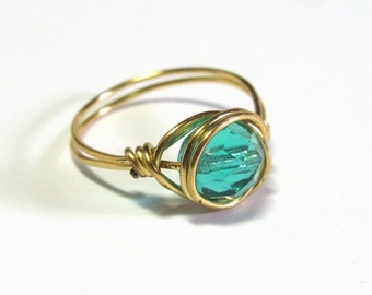 Aqua Wire Wrapped Ring, Aqua and Gold Ring, Glass Solitaire Ring,