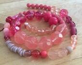 Pretty in PINK Mix DESTASH Beads   Glass, Gemstones, Vintage