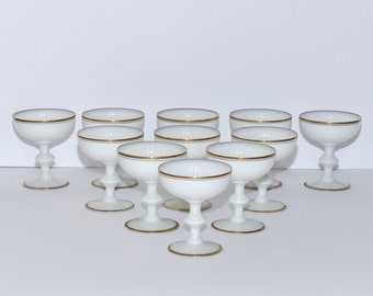 Portieux Vallerysthal PV France White Opaline with Gold Gilt Champagne Glasses, Set of 11