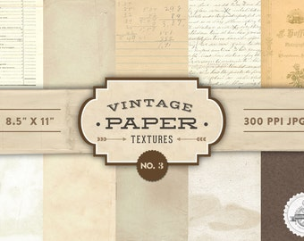 Vintage Paper Textures - No. 3 - Printable Papers  - Digital Scrapbooking - Personal and Commercial Use - Instant Download