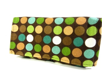 Coupon Receipt Organizer Moss and Brown Dots Duck Fabric - Brown Lining