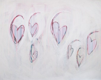 Heart Painting: Open Hearts, acrylic and ink on paper, original painting, valentines