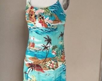 Vintage Hawaiian Print Sundress. 80's summer dress. Luau. Tiki. VLV dress
