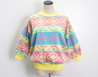 VTG 90's Bright Abstract Geo Cropped Sweater (Medium) Yellow Pink Blue Knit Three Quarter Sleeves Geometric Stripes Slouchy Vintage