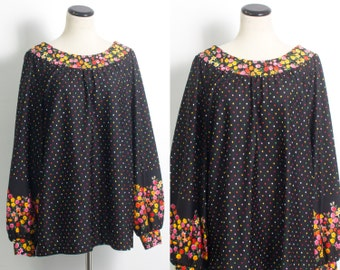 VTG 70's Slouchy Rainbow Dots & Flowers Blouse (Large / Extra Large) Long Puffed Sleeves Polka Dots Boat Neck Tunic Tent Hippie Boho