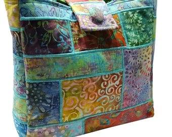 Large Batik Purse in Multicolored Patchwork