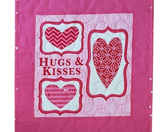 Valentine Wall Hanging or Table Topper Quilt, Hugs and Kisses