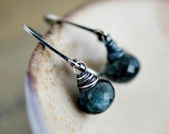 Moss Aquamarine Earrings, Drop Earrings, Aquamarine Earrings, March Birthstone, Teal Gemstone, Sterling Silver, Gemstone Earrings, PoleStar