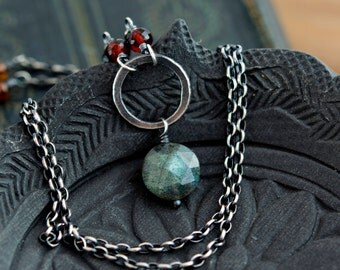 Labradorite Necklace, Garnet Necklace, January Birthstone, Circle Pendant, Gemstone Necklace, Labradorite Jewelry, Sterling Silver, PoleStar