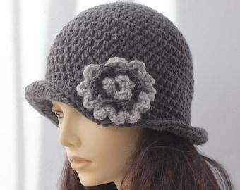 Flower Cloche Hat,  Flapper Hat, Bucket Hat,  Winter Hat, Woman's Hat, Crochet Hat,  1920's Style  Hat