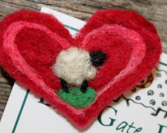 Heart, Needle Felted Heart Pin #1626