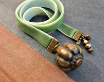 Ribbon Bookmark, Sage Green with Bead Accents: Poe