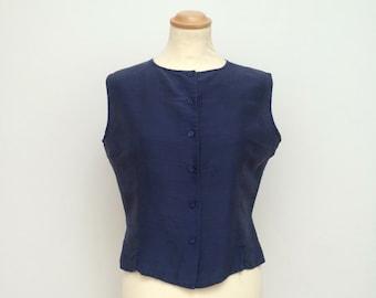 Silk top, Indigo blue, Sleeveless top, Blue blouse, Waistcoat, Shirt, Summer top