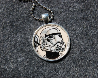 Star Wars Stormtrooper Comic Pendant Necklace Wearable Art Jewelry