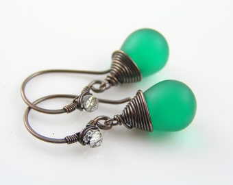 Green Earrings, Matte Green Czech Glass Teardrop Earrings, Wire Wrapped Earrings, Copper Earrings, Wire Wrapped Jewelry, Czech Bead Jewelry
