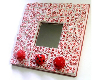 Mosaic Mirror Hat Rack, Red White Floral Mosaic Mirror with Knobs, Repurposed Handcut Ceramic Mirror with Hooks, Recycled Upcycled Mirror