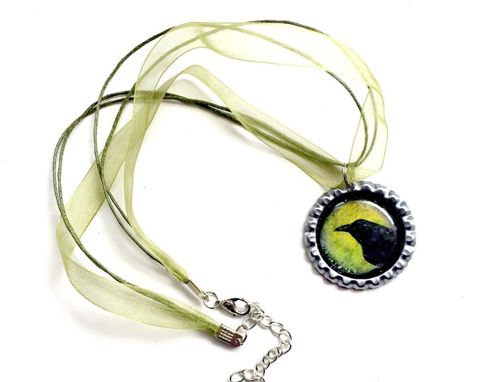 Crow Organza Ribbon Necklace, Bottle Cap Green Black Crow Necklace with Organza Ribbon, Avocado Green Organza Ribbon Crow Choker Necklace