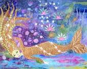 Golden Mermaid, 10 x 7, Art Print, fairytale, magical, ocean,