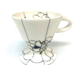 Vintage Pattern Anemones Pour Over Coffee Server