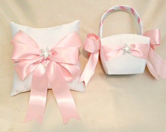 Pink Ring Bearer Pillow Set- Flower Girl Basket Set - Ring Pillow Ivory - Flower girl White Basket - Custom Colors Available