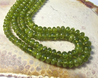 Rare Vesuvianite Idocrase Rondelle Beads 8mm 9mm7mm , 18 Inch Strand,  Natural Green Gemstone